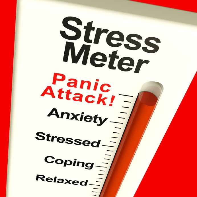 11947983 - stress meter showing  panic attack from stress and worry